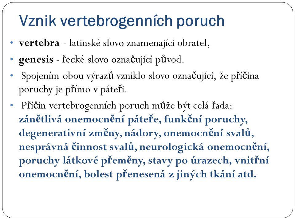  Vertebrogenní onemocn ě ní lze definovat jako soubor funk č ních a degenerativních onemocn ě ní páte ř e, manifestujících se obvykle bolestí n ě kterého úseku páte ř e nebo bolestí vyza ř ující z páte ř e do jiných č ástí t ě la.