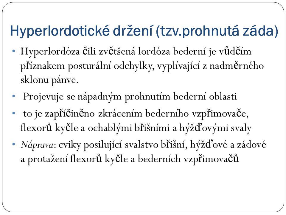Hyperlordotické držení (tzv.prohnutá záda) • Hyperlordóza č ili zv ě tšená lordóza bederní je v ů d č ím p ř íznakem posturální odchylky, vyplívající