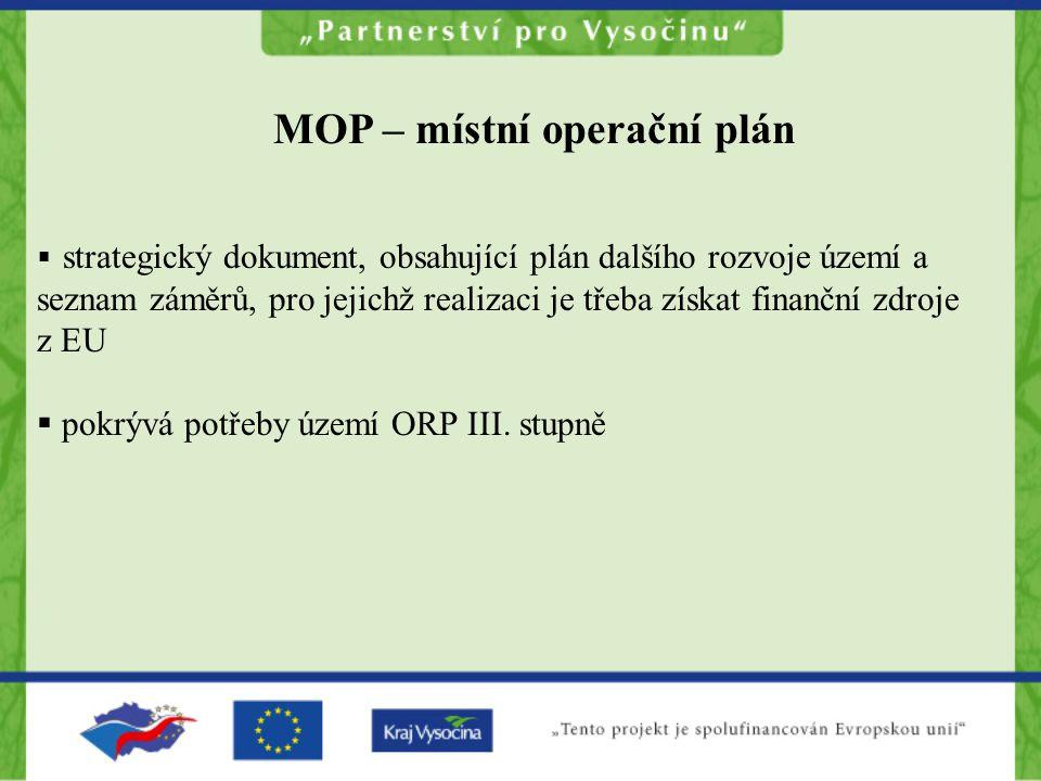  strategický dokument, obsahující plán dalšího rozvoje území a seznam záměrů, pro jejichž realizaci je třeba získat finanční zdroje z EU  pokrývá potřeby území ORP III.