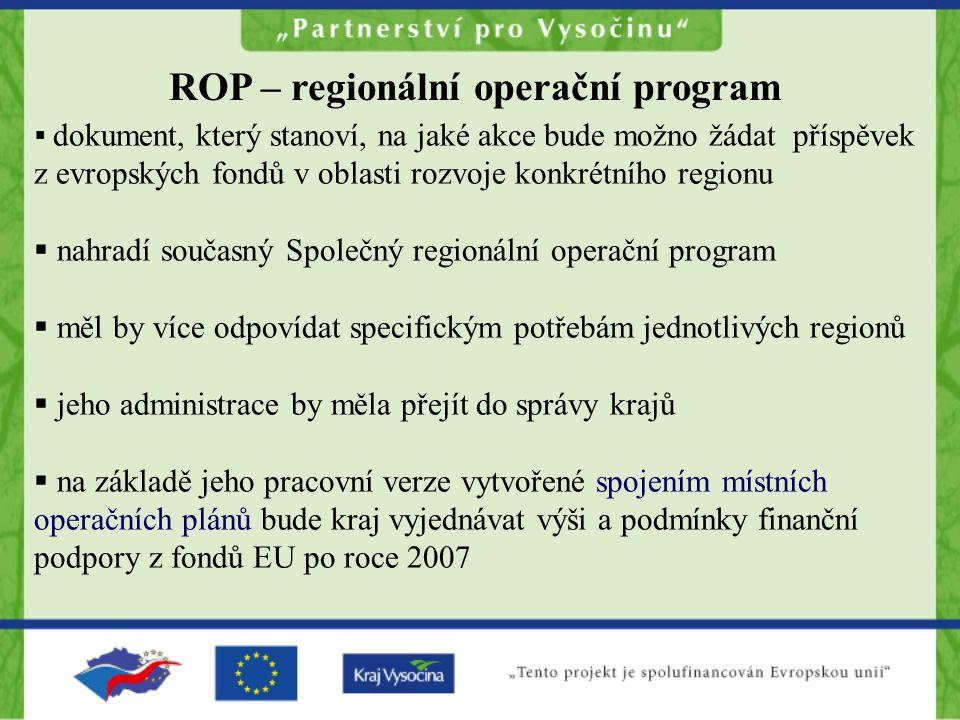  dokument, který stanoví, na jaké akce bude možno žádat příspěvek z evropských fondů v oblasti rozvoje konkrétního regionu  nahradí současný Společný regionální operační program  měl by více odpovídat specifickým potřebám jednotlivých regionů  jeho administrace by měla přejít do správy krajů  na základě jeho pracovní verze vytvořené spojením místních operačních plánů bude kraj vyjednávat výši a podmínky finanční podpory z fondů EU po roce 2007 ROP – regionální operační program