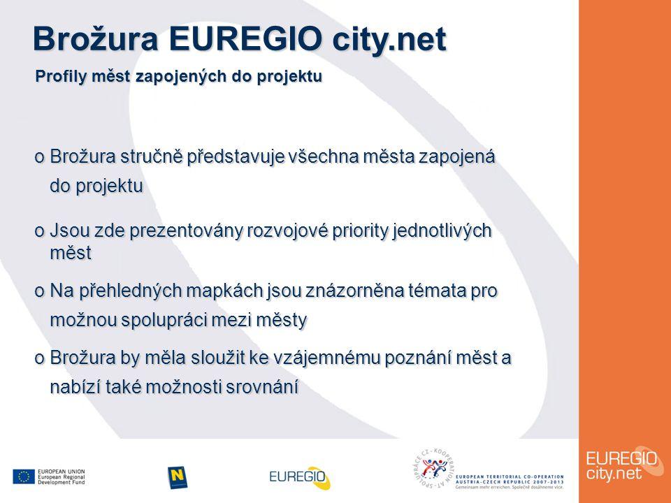 Brožura EUREGIO city.net Profily měst zapojených do projektu o Brožura stručně představuje všechna města zapojená do projektu do projektu o Jsou zde prezentovány rozvojové priority jednotlivých měst měst o Na přehledných mapkách jsou znázorněna témata pro možnou spolupráci mezi městy možnou spolupráci mezi městy o Brožura by měla sloužit ke vzájemnému poznání měst a nabízí také možnosti srovnání nabízí také možnosti srovnání