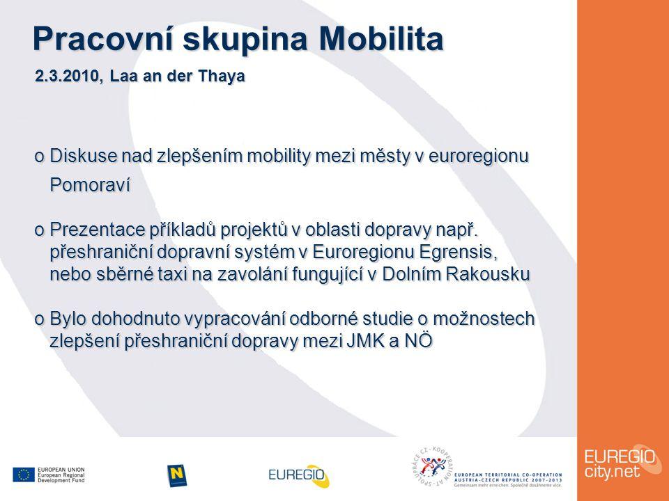 Pracovní skupina Mobilita 2.3.2010, Laa an der Thaya o Diskuse nad zlepšením mobility mezi městy v euroregionu Pomoraví Pomoraví o Prezentace příkladů projektů v oblasti dopravy např.