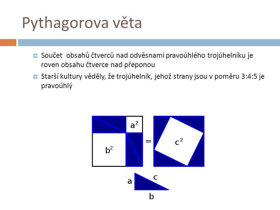 Zajímavosti  Podstatu světa viděl v číslech –,,Číslo je podstata věcí  OMYL: Pythagorovu větu nevymyslel Pythagoras  Byla známá již ve starověkém Babyloně dávno před tím  Za vlády Chamurapiho se stala součástí výuky  Podle Pythagora se jmenuje i známá matematická soutěž Pythagoriáda  O Pythagorovi píše Cicero, Ovidius, Kléméns Alexandrijský i Hippolyt Římský  Za Pythagorejce se považuje Pico della Mirana také se jím inspirovali Giordano Bruno, Johannes Kepler i Biabattista Vico