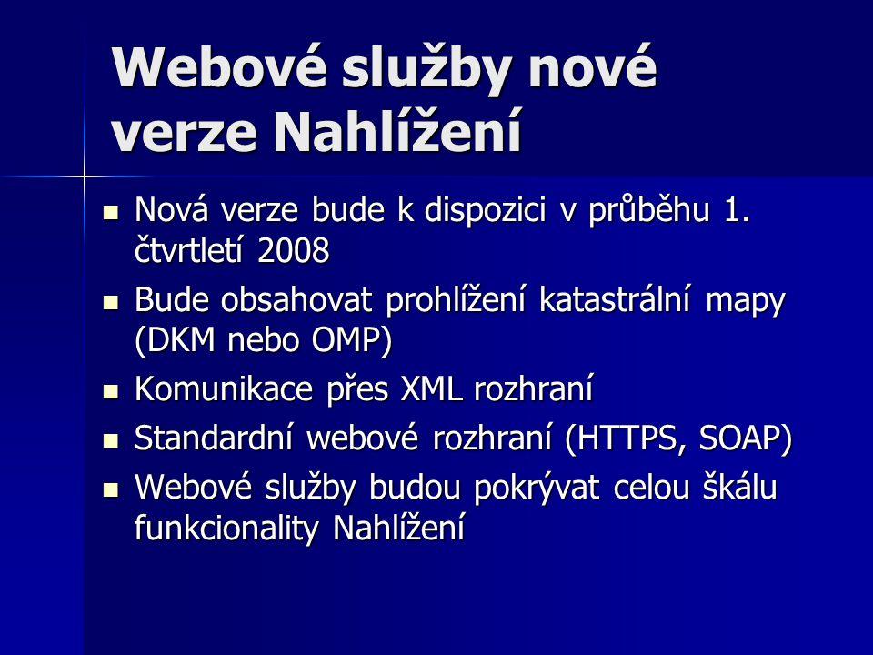 Webové služby nové verze Nahlížení  Nová verze bude k dispozici v průběhu 1. čtvrtletí 2008  Bude obsahovat prohlížení katastrální mapy (DKM nebo OM