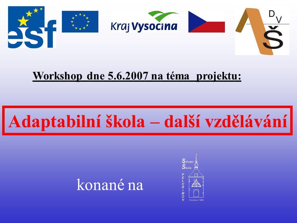 Adaptabilní škola – další vzdělávání Workshop dne 5.6.2007 na téma projektu: konané na
