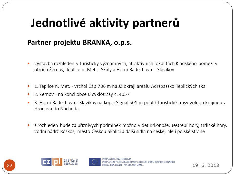 Jednotlivé aktivity partnerů 19.6. 2013 22 Partner projektu BRANKA, o.p.s.