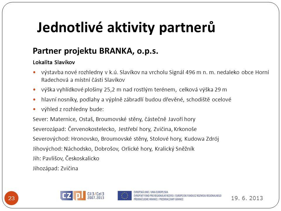 Jednotlivé aktivity partnerů 19.6. 2013 23 Partner projektu BRANKA, o.p.s.