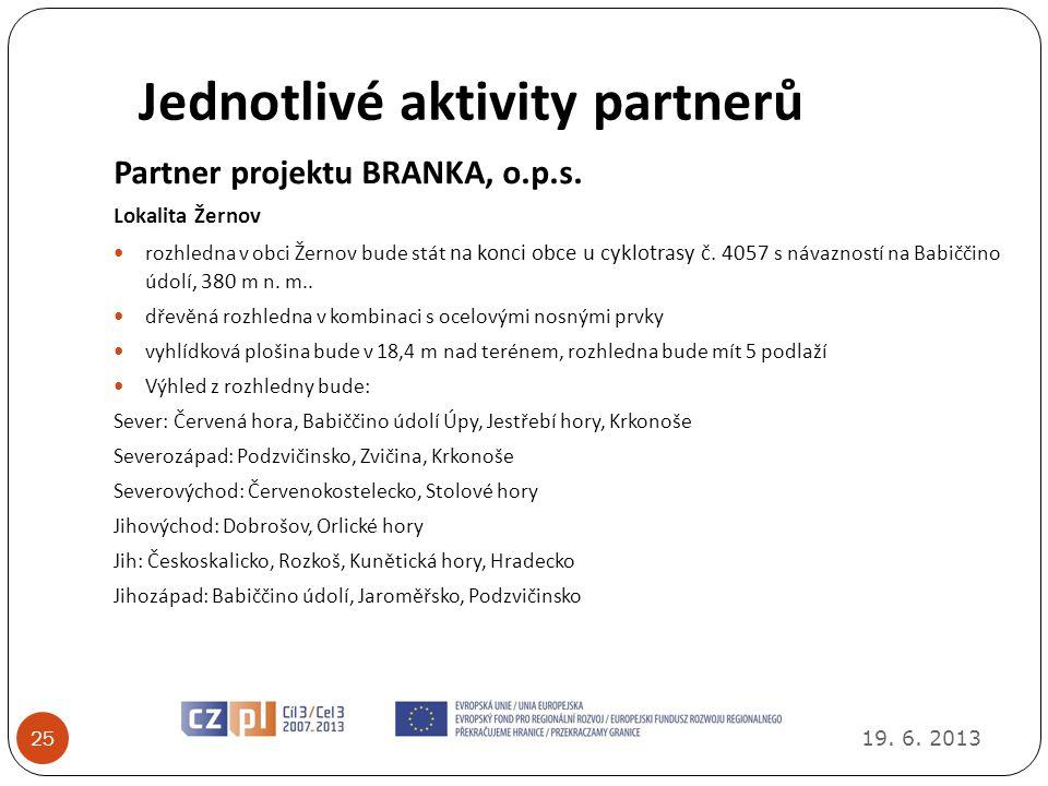 Jednotlivé aktivity partnerů 19.6. 2013 25 Partner projektu BRANKA, o.p.s.
