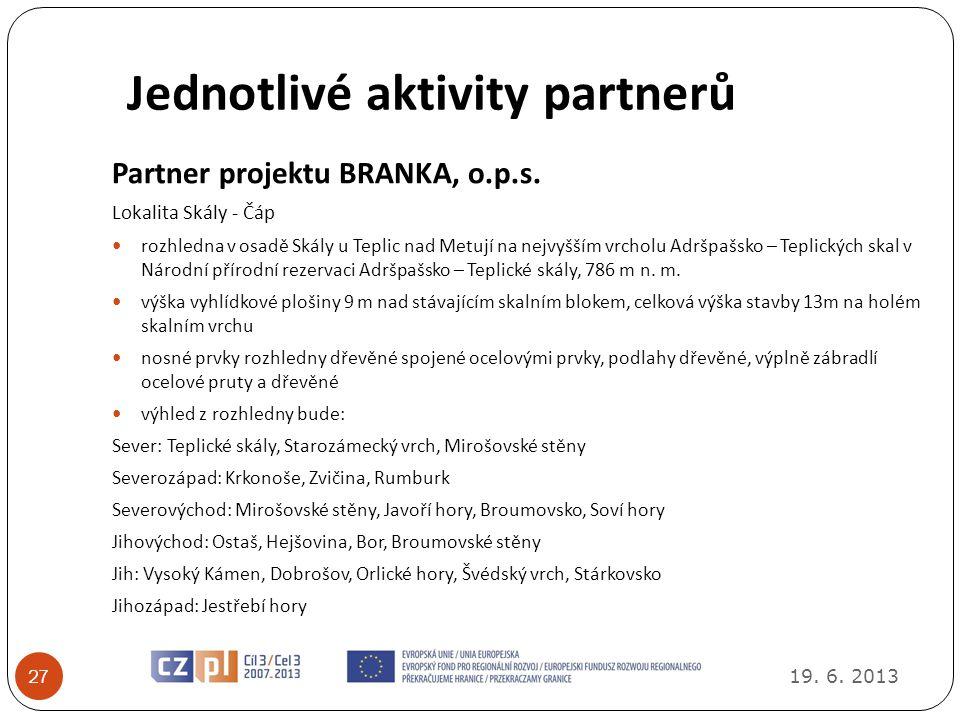 Jednotlivé aktivity partnerů 19.6. 2013 27 Partner projektu BRANKA, o.p.s.