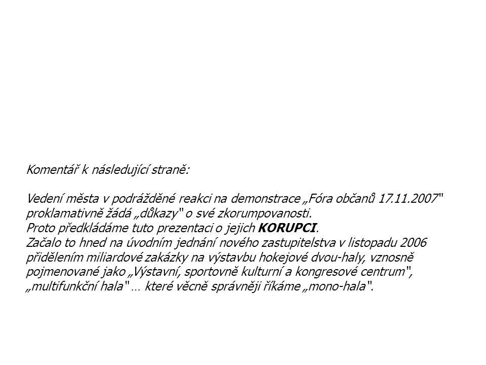 """Komentář k následující straně: Vedení města v podrážděné reakci na demonstrace """"Fóra občanů 17.11.2007"""" proklamativně žádá """"důkazy"""" o své zkorumpovano"""