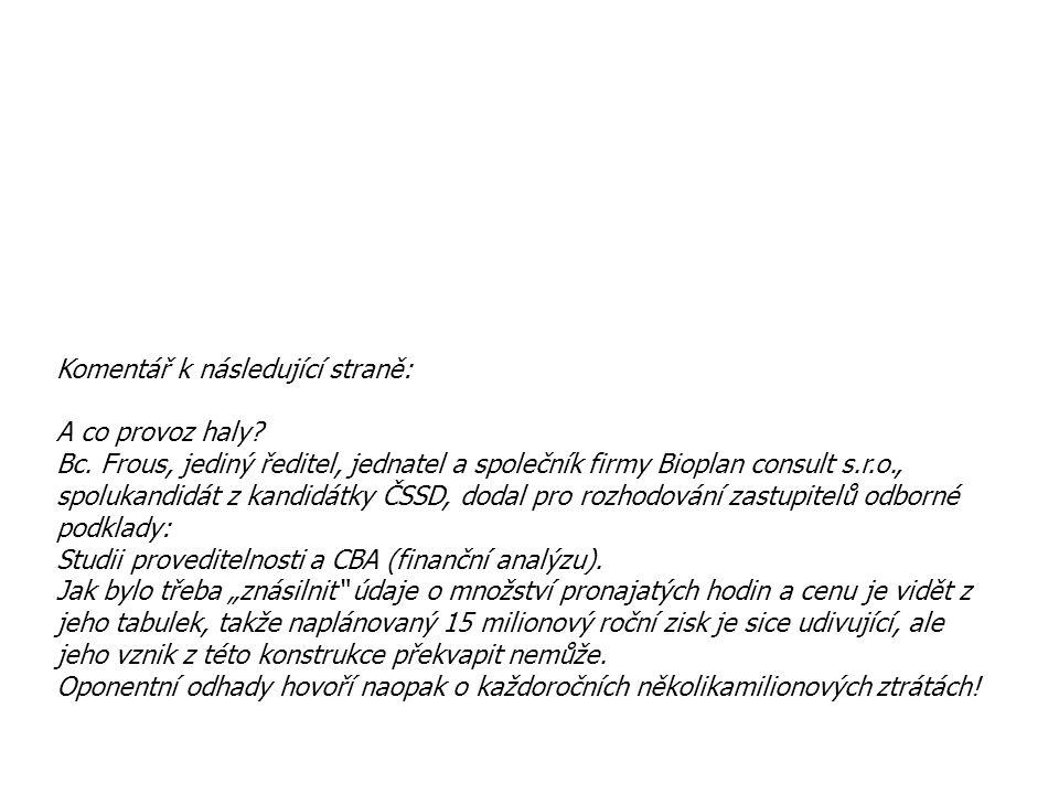 Komentář k následující straně: A co provoz haly? Bc. Frous, jediný ředitel, jednatel a společník firmy Bioplan consult s.r.o., spolukandidát z kandidá