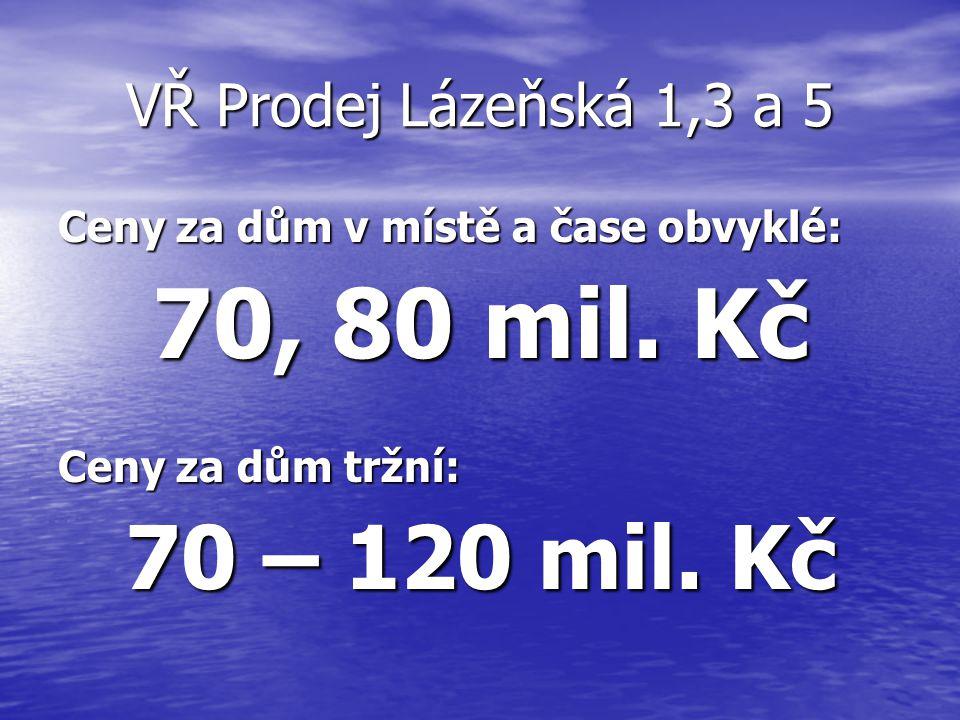 VŘ Prodej Lázeňská 1,3 a 5 Ceny za dům v místě a čase obvyklé: 70, 80 mil. Kč Ceny za dům tržní: 70 – 120 mil. Kč