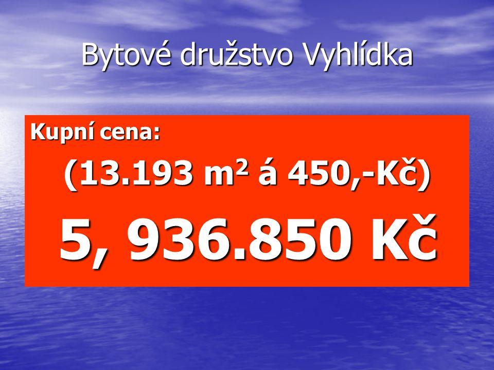 Bytové družstvo Vyhlídka Kupní cena: (13.193 m 2 á 450,-Kč) 5, 936.850 Kč