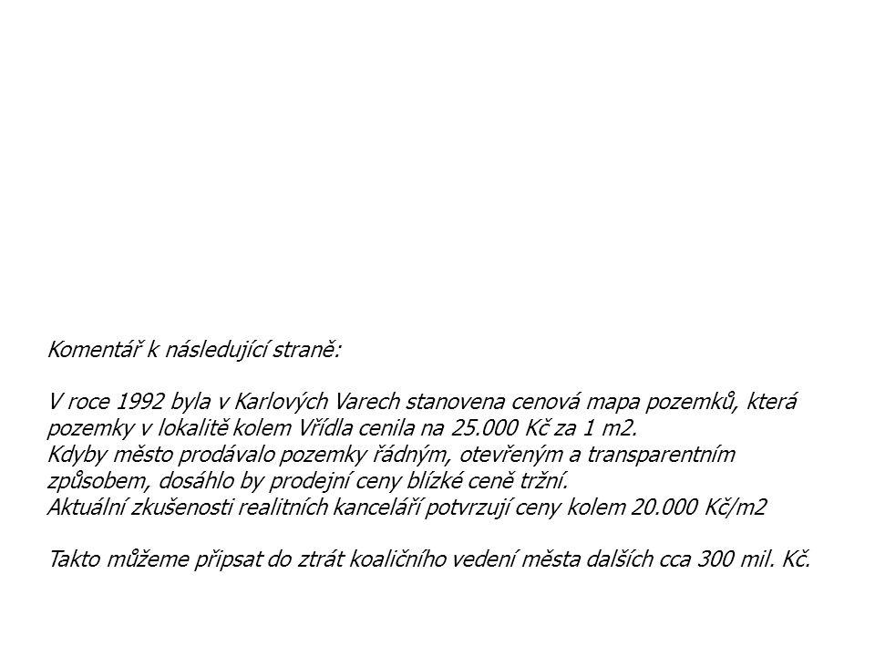 Komentář k následující straně: V roce 1992 byla v Karlových Varech stanovena cenová mapa pozemků, která pozemky v lokalitě kolem Vřídla cenila na 25.0