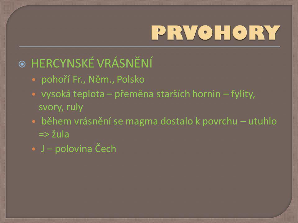  HERCYNSKÉ VRÁSNĚNÍ • pohoří Fr., Něm., Polsko • vysoká teplota – přeměna starších hornin – fylity, svory, ruly • během vrásnění se magma dostalo k p