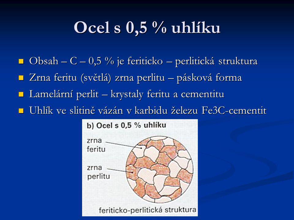 Ocel s 0,5 % uhlíku  Obsah – C – 0,5 % je feriticko – perlitická struktura  Zrna feritu (světlá) zrna perlitu – pásková forma  Lamelární perlit – k