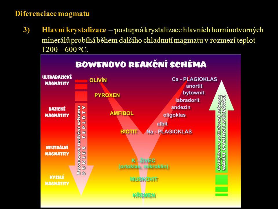 3)Hlavní krystalizace – postupná krystalizace hlavních horninotvorných minerálů probíhá během dalšího chladnutí magmatu v rozmezí teplot 1200 – 600 o