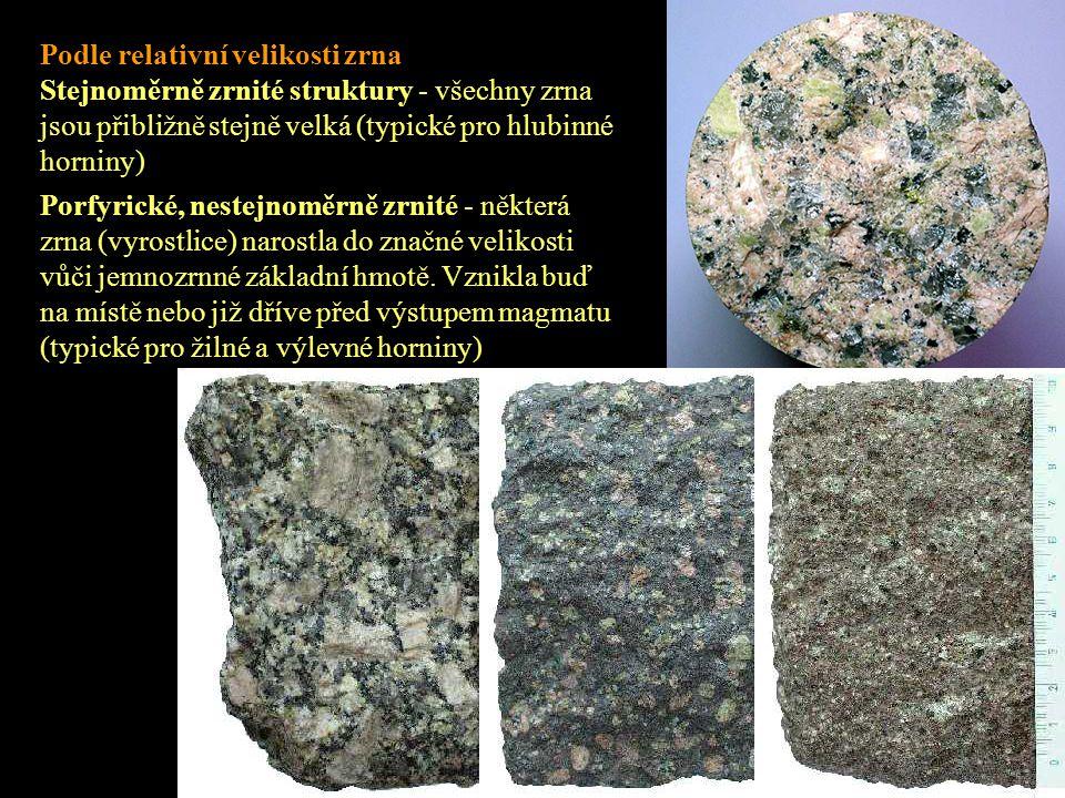 Podle relativní velikosti zrna Stejnoměrně zrnité struktury - všechny zrna jsou přibližně stejně velká (typické pro hlubinné horniny) Porfyrické, nest