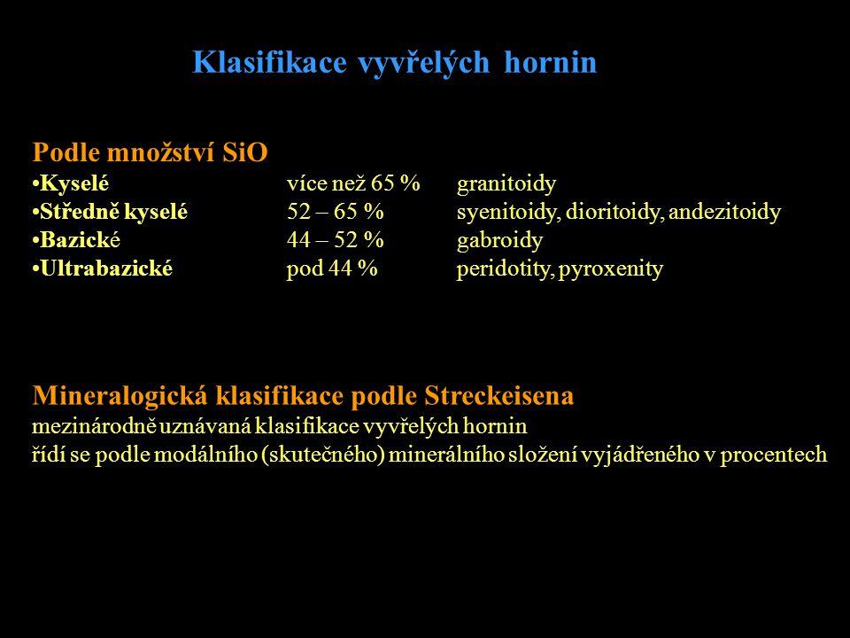 Klasifikace vyvřelých hornin Podle množství SiO •Kyselé více než 65 %granitoidy •Středně kyselé52 – 65 %syenitoidy, dioritoidy, andezitoidy •Bazické44
