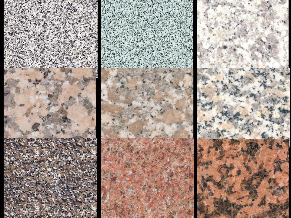 Granodiorit • hornina světle šedá, někdy skvrnitá, připomínající granit, ale poněkud tmavší barvy • podíl tmavých minerálů je vyšší než u granitu (M = 2 – 25), převládá biotit a amfibol • světlé minerály: převládají plagioklasy nad draselnými živci (z 65 – 90 %), podíl křemene je 20 – 60 % • detailnější členění podle tmavých minerálů • použití a rozšíření je podobné jako u granitů