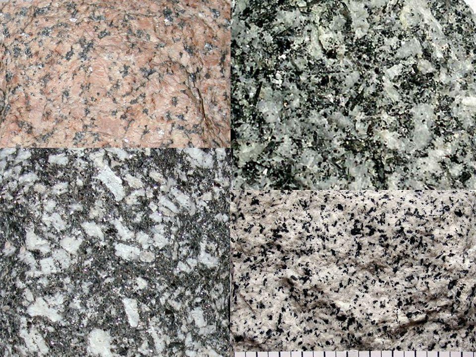 Diorit • hornina bez křemene Q = 0 – 5 % • světlé minerály zastupují z 90 % světlé plagioklasy s An pod 50 (nejčastěji andezín) • tmavé minerály (biotit, amfibol, pyroxen) M = 25 – 50 % • detailnější členění podle tmavých minerálů • barva tmavě šedá, zelenošedá • středně až jemně zrnitá struktura • tvoří malé tělesa tvaru plutonů nebo pní • využití v kamenictví (náhrobky, dlažba, obkladový materiál)