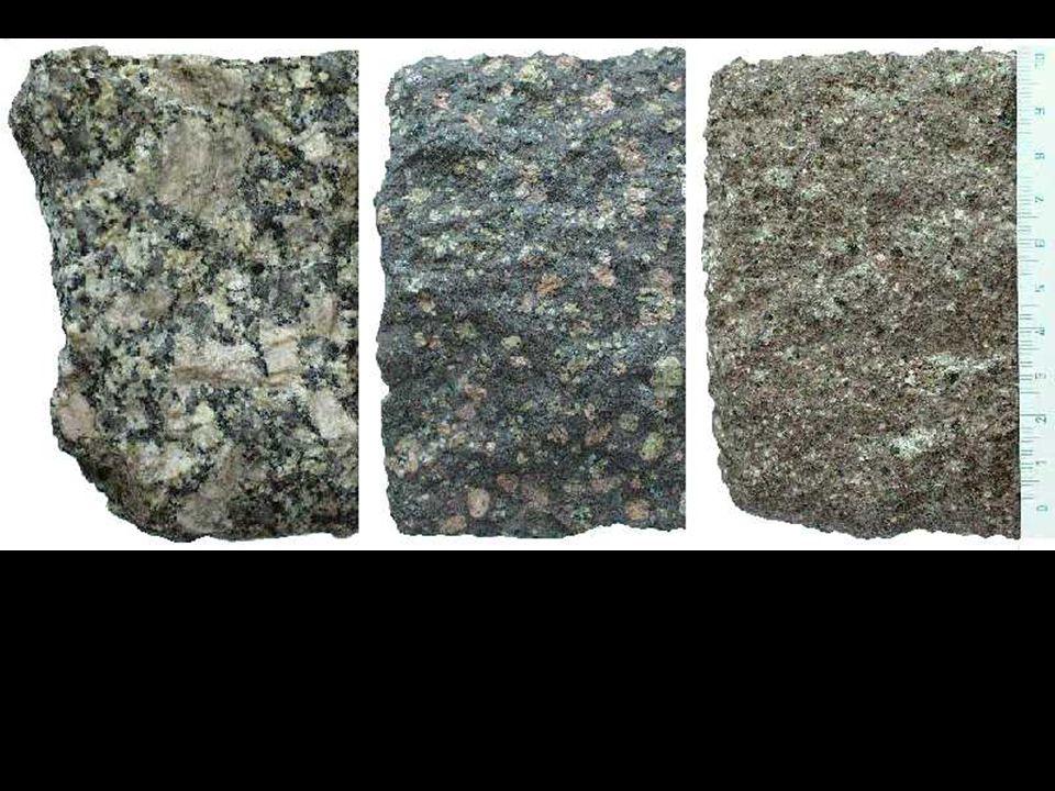 Aplity a pegmatity • chemicky kyselejší než jejich hlubinné ekvivalenty • vznikly odštěpením kyselé, lehčí, agresivnější frakce od magmatu •.