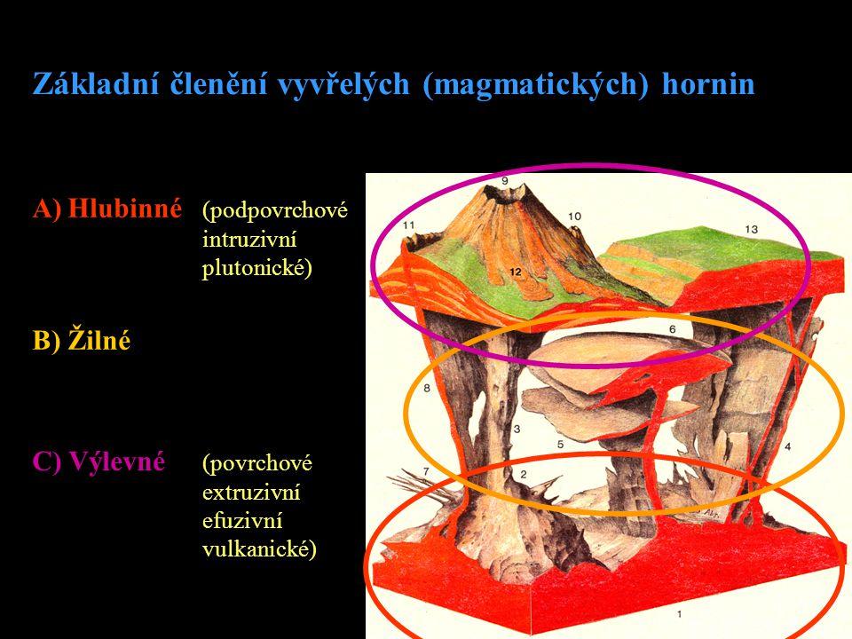 Ad 1A) Hlubinné horniny •vznikly utuhnutím magmatu ve větších hloubkách zemské kůry (2 – 10 km) •vytvářejí velká primární magmatická tělesa (plutony, batolity, lakolity, atd.) •krystaly jednotlivých minerálů jsou dobře vyvinuté a velké •dostatek času na vykrystalizování všech minerálů Ad 1B) Žilné horniny •tavenina prostupuje od magmatického krbu sekundárními strukturami horninového masivu •větší vzdálenosti od magmatického krbu •chladnější okolní horniny a vznik menších geologických těles Ad 1C) Výlevné horniny •vznikly vylevem magmatu na povrch •utuhly velmi rychle •ochlazování vzduchem (na pevnině) nebo vodou (na mořském dně)