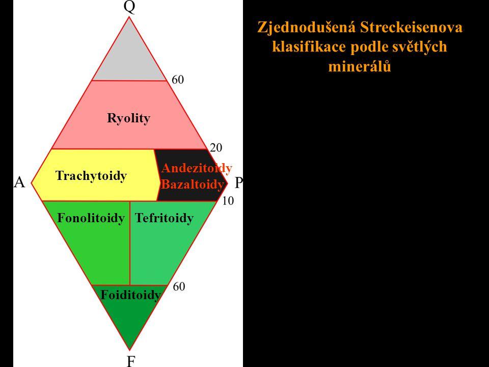 Ryolit • křemen 20 – 60 % • tmavé minerály M = 5 – 15 %, nejčastěji biotit, méně amfiboly a pyroxeny, biotit • světlé minerály - draselné živce (ortoklas, mikroklin) převládají nad plagioklasy • barva horniny je narůžovělá, nafialovělá, fialová, červená • struktura porfyrická s vyrostlicemi křemene, alkalických živců, plagioklasu, biotitu, amfibolu i pyroxenu • základní hmota je jemnozrnná, mikrogranitická i sklovitá • textura proudovitá • stavební materiál (kamenné zdivo, dekorační kámen, silniční a železniční štěrk)