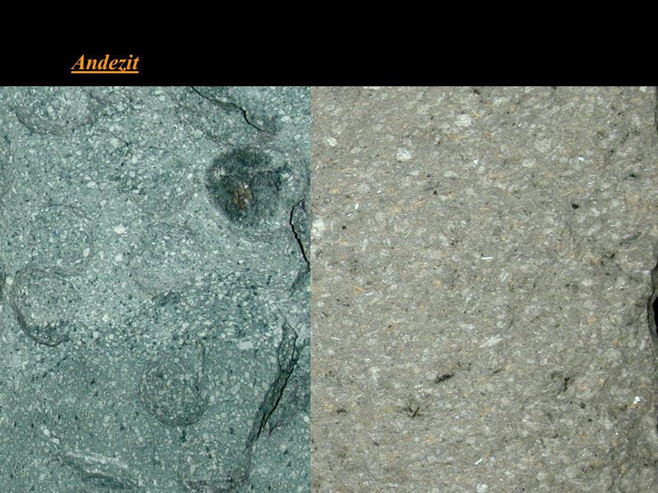 Andezit • chemickým složením odpovídá dioritu • hornina bez křemene Q = 0 – 5 % • světlé minerály zastupují z 90 % světlé plagioklasy s An pod 50 (nej