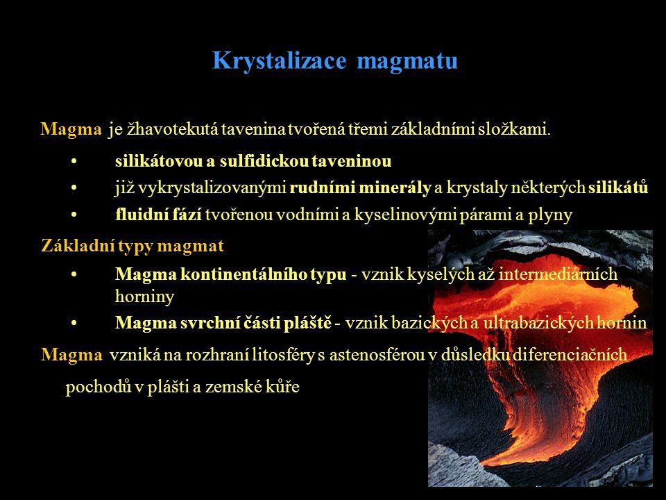 Magma je žhavotekutá tavenina tvořená třemi základními složkami. Základní typy magmat •Magma kontinentálního typu - vznik kyselých až intermediárních
