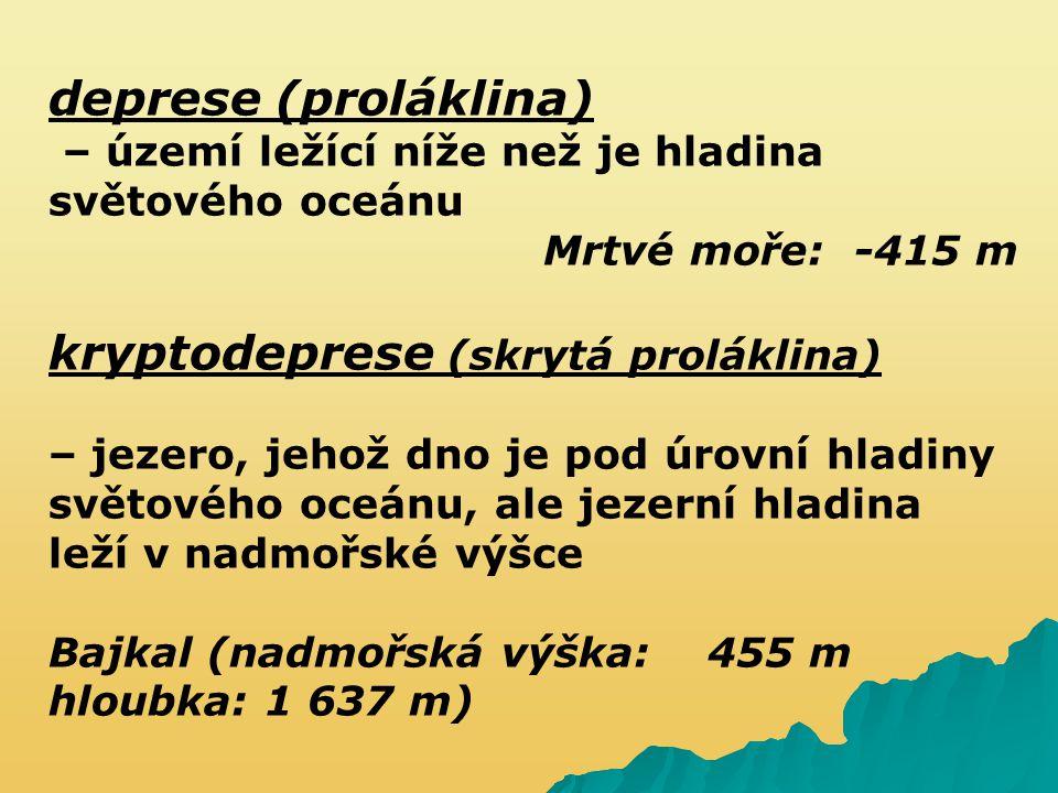 deprese (proláklina) – území ležící níže než je hladina světového oceánu Mrtvé moře: -415 m kryptodeprese (skrytá proláklina) – jezero, jehož dno je p