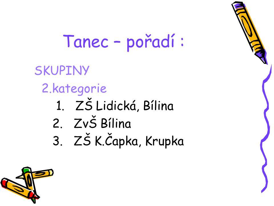 Tanec – pořadí : SKUPINY 1.kategorie 1. ZŠ Masarykova, Krupka 2. SpŠ Teplice 3. SpŠ Duchcov