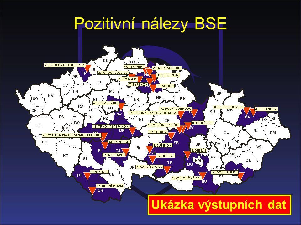 Pozitivní nálezy BSE Ukázka výstupních dat