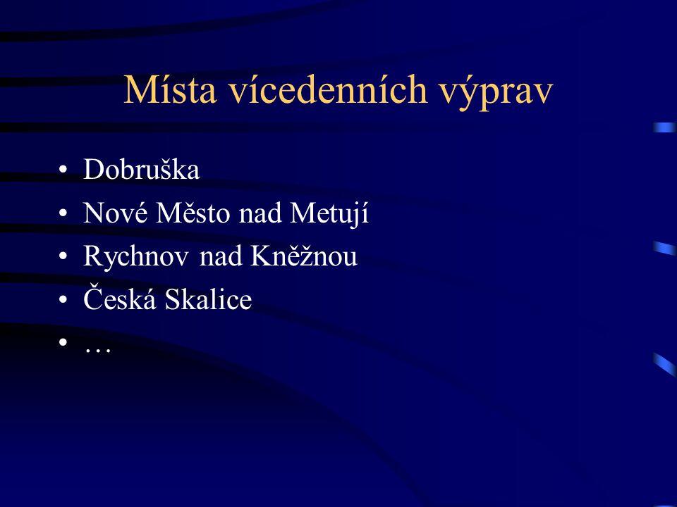 Místa vícedenních výprav •Dobruška •Nové Město nad Metují •Rychnov nad Kněžnou •Česká Skalice •…