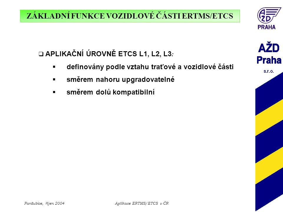 ZÁKLADNÍ FUNKCE VOZIDLOVÉ ČÁSTI ERTMS/ETCS Pardubice, říjen 2004Aplikace ERTMS/ETCS v ČR  APLIKAČNÍ ÚROVNĚ ETCS L1, L2, L3 :  definovány podle vztah