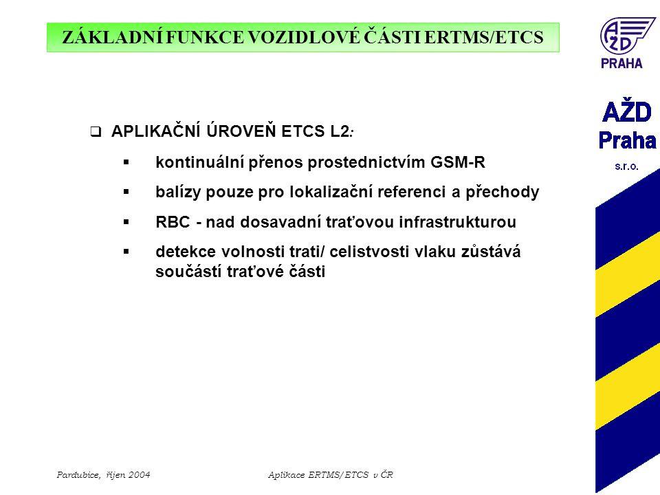 ZÁKLADNÍ FUNKCE VOZIDLOVÉ ČÁSTI ERTMS/ETCS Pardubice, říjen 2004Aplikace ERTMS/ETCS v ČR  APLIKAČNÍ ÚROVEŇ ETCS L2 :  kontinuální přenos prostednict
