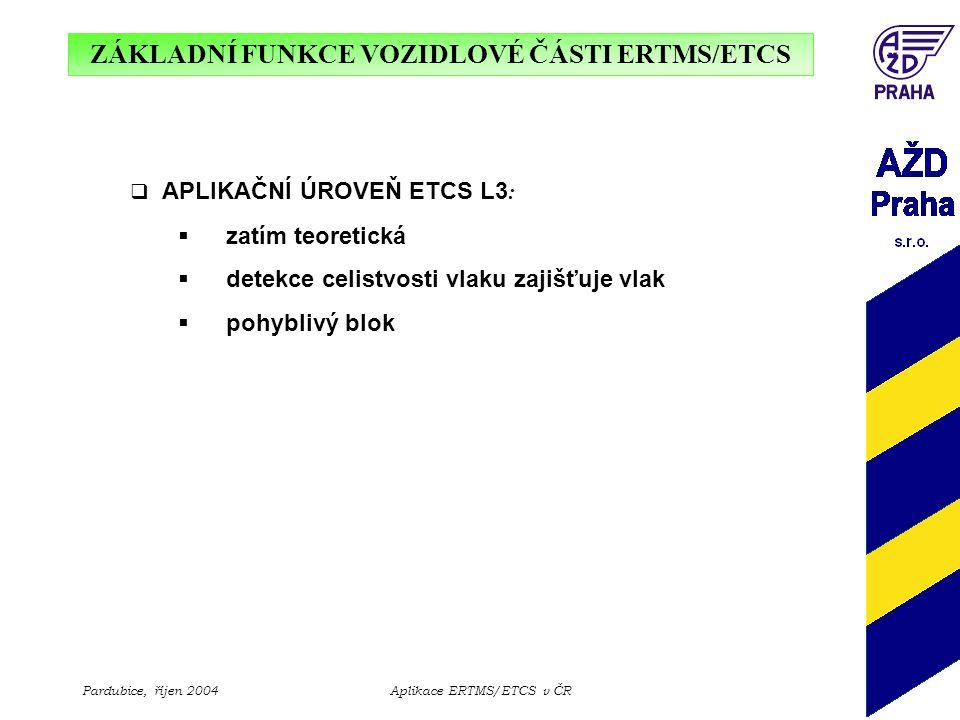 ZÁKLADNÍ FUNKCE VOZIDLOVÉ ČÁSTI ERTMS/ETCS Pardubice, říjen 2004Aplikace ERTMS/ETCS v ČR  APLIKAČNÍ ÚROVEŇ ETCS L3 :  zatím teoretická  detekce cel