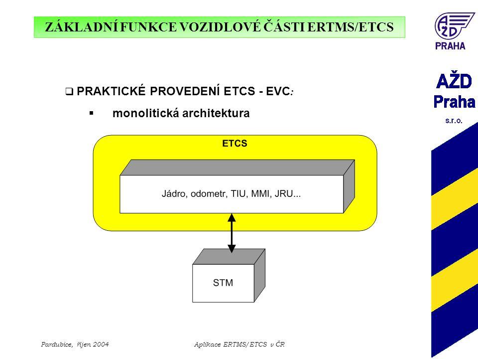ZÁKLADNÍ FUNKCE VOZIDLOVÉ ČÁSTI ERTMS/ETCS Pardubice, říjen 2004Aplikace ERTMS/ETCS v ČR  PRAKTICKÉ PROVEDENÍ ETCS - EVC :  distribuovaná architektura