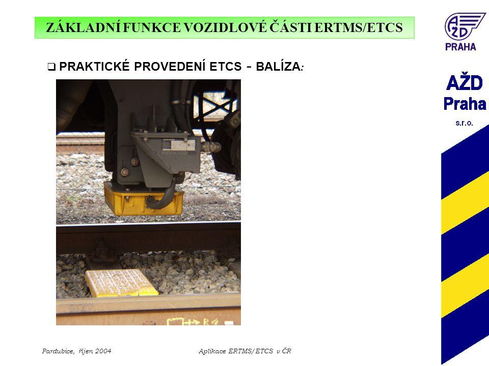 ZÁKLADNÍ FUNKCE VOZIDLOVÉ ČÁSTI ERTMS/ETCS Pardubice, říjen 2004Aplikace ERTMS/ETCS v ČR  PRAKTICKÉ PROVEDENÍ ETCS - BALÍZA :