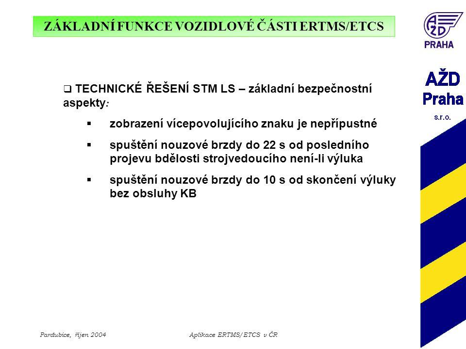 ZÁKLADNÍ FUNKCE VOZIDLOVÉ ČÁSTI ERTMS/ETCS Pardubice, říjen 2004Aplikace ERTMS/ETCS v ČR  TECHNICKÉ ŘEŠENÍ STM LS – základní bezpečnostní aspekty : 