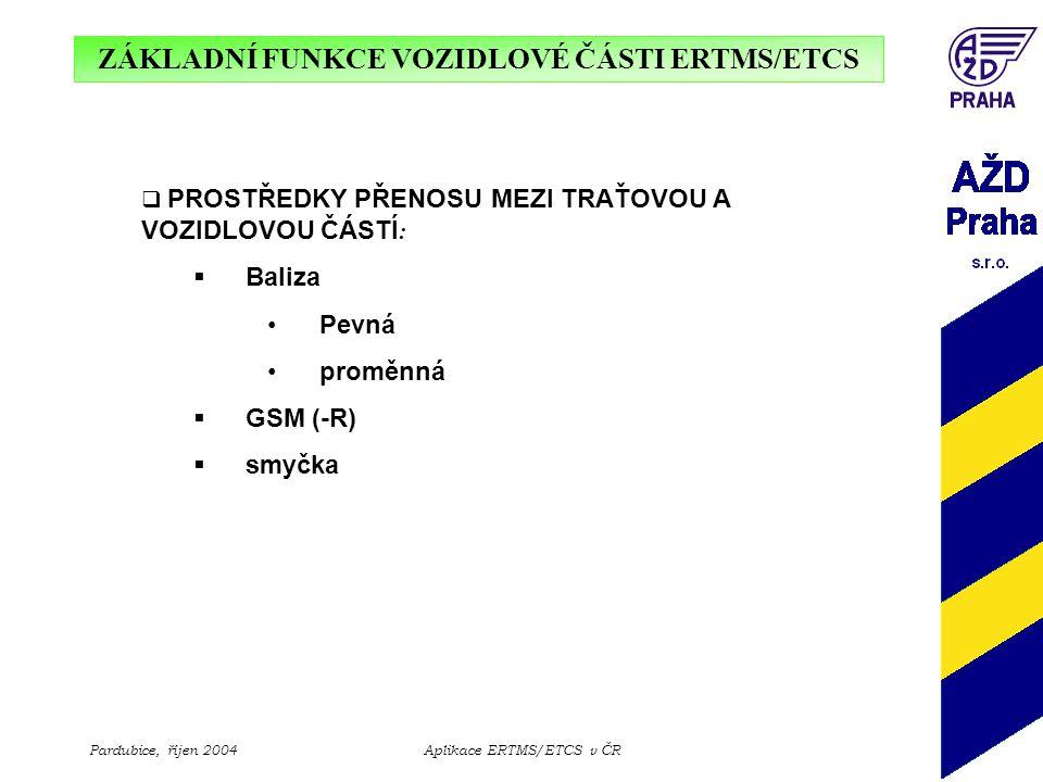 ZÁKLADNÍ FUNKCE VOZIDLOVÉ ČÁSTI ERTMS/ETCS Pardubice, říjen 2004Aplikace ERTMS/ETCS v ČR  PROSTŘEDKY PŘENOSU MEZI TRAŤOVOU A VOZIDLOVOU ČÁSTÍ :  Bal