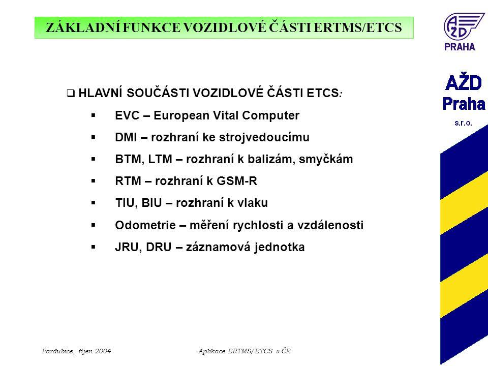 ZÁKLADNÍ FUNKCE VOZIDLOVÉ ČÁSTI ERTMS/ETCS Pardubice, říjen 2004Aplikace ERTMS/ETCS v ČR  HLAVNÍ SOUČÁSTI VOZIDLOVÉ ČÁSTI ETCS :  EVC – European Vit