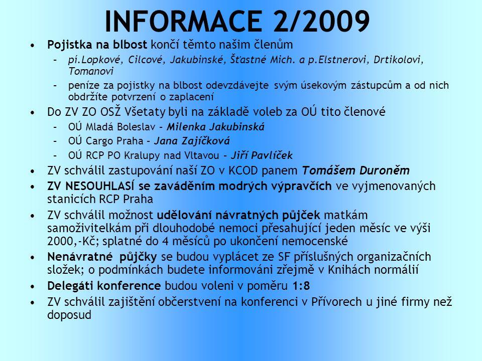 INFORMACE 2/2009 •Pojistka na blbost končí těmto našim členům –pí.Lopkové, Cilcové, Jakubinské, Šťastné Mich. a p.Elstnerovi, Drtikolovi, Tomanovi –pe