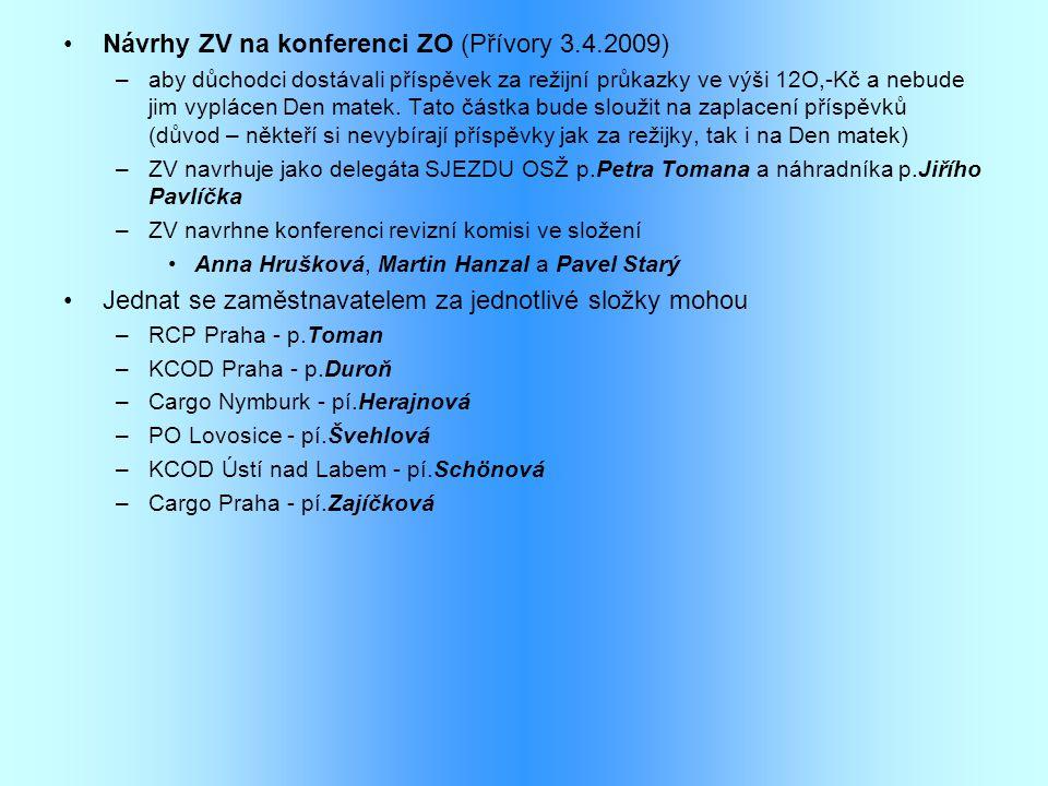 •Návrhy ZV na konferenci ZO (Přívory 3.4.2009) –aby důchodci dostávali příspěvek za režijní průkazky ve výši 12O,-Kč a nebude jim vyplácen Den matek.