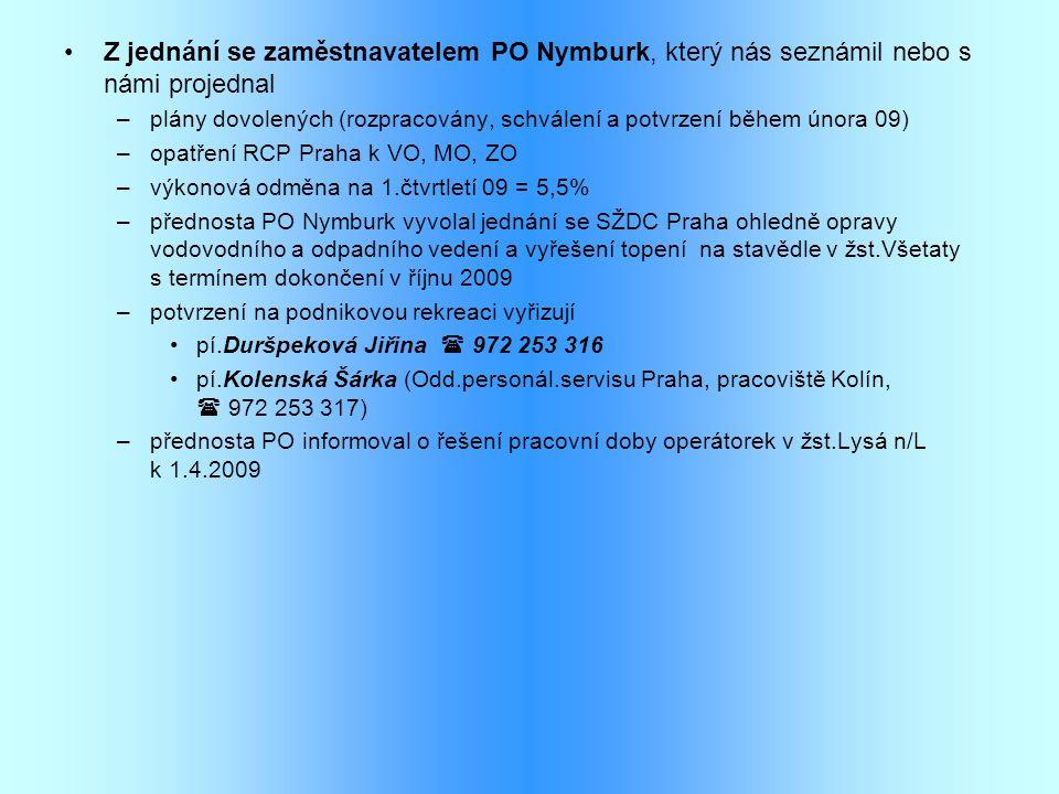 •Z jednání se zaměstnavatelem PO Nymburk, který nás seznámil nebo s námi projednal –plány dovolených (rozpracovány, schválení a potvrzení během února