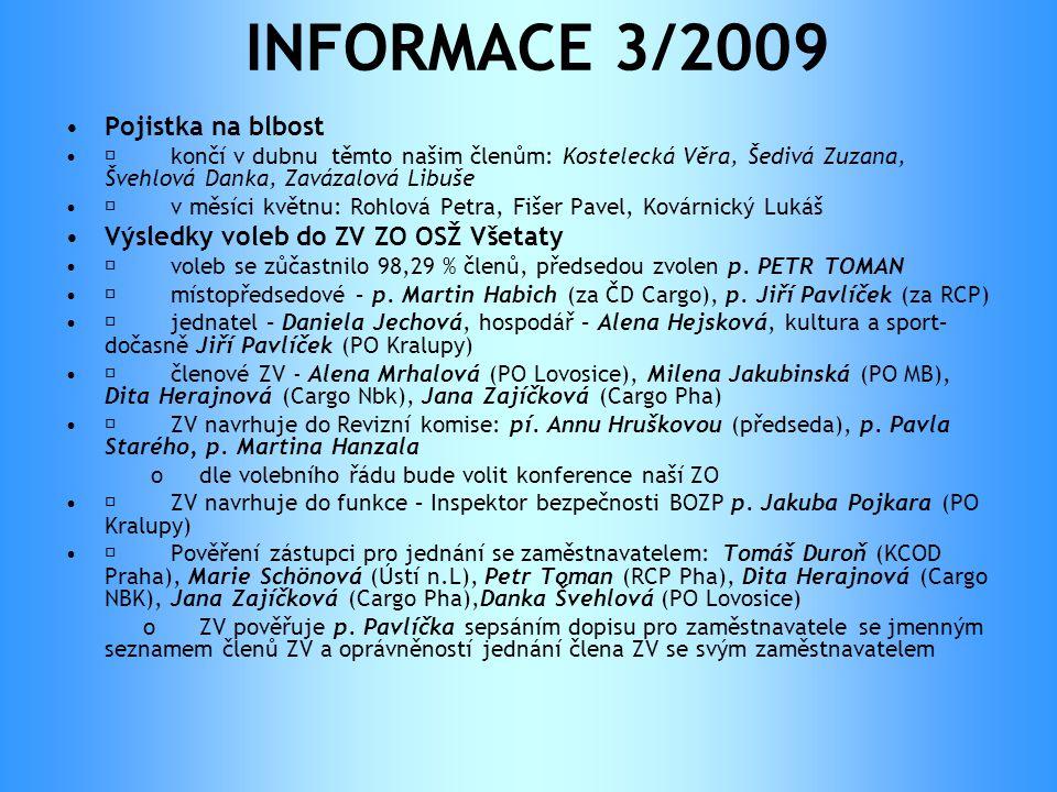 INFORMACE 3/2009 •Pojistka na blbost •  končí v dubnu těmto našim členům: Kostelecká Věra, Šedivá Zuzana, Švehlová Danka, Zavázalová Libuše •  v měs
