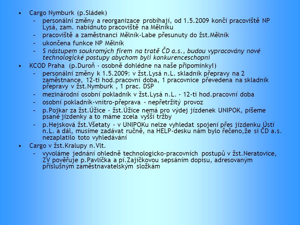 •Cargo Nymburk (p.Sládek) –personální změny a reorganizace probíhají, od 1.5.2009 končí pracoviště NP Lysá, zam. nabídnuto pracoviště na Mělníku –prac