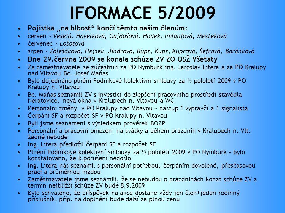"""IFORMACE 5/2009 •Pojistka """"na blbost"""" končí těmto našim členům: •červen - Veselá, Havelková, Gajdošová, Hodek, Imlaufová, Mesteková •červenec - Lošoto"""