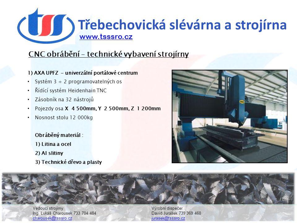 Třebechovická slévárna a strojírna 1) AXA UPFZ - univerzální portálové centrum • Systém 3 + 2 programovatelných os • Řídící systém Heidenhain TNC • Zásobník na 32 nástrojů • Pojezdy osa X 4 500mm, Y 2 500mm, Z 1 200mm • Nosnost stolu 12 000kg Obráběný materiál : 1) Litina a ocel 2) Al slitiny 3) Technické dřevo a plasty CNC obrábění – technické vybavení strojírny www.tsssro.cz Vedoucí strojírnyVýrobní dispečer Ing.