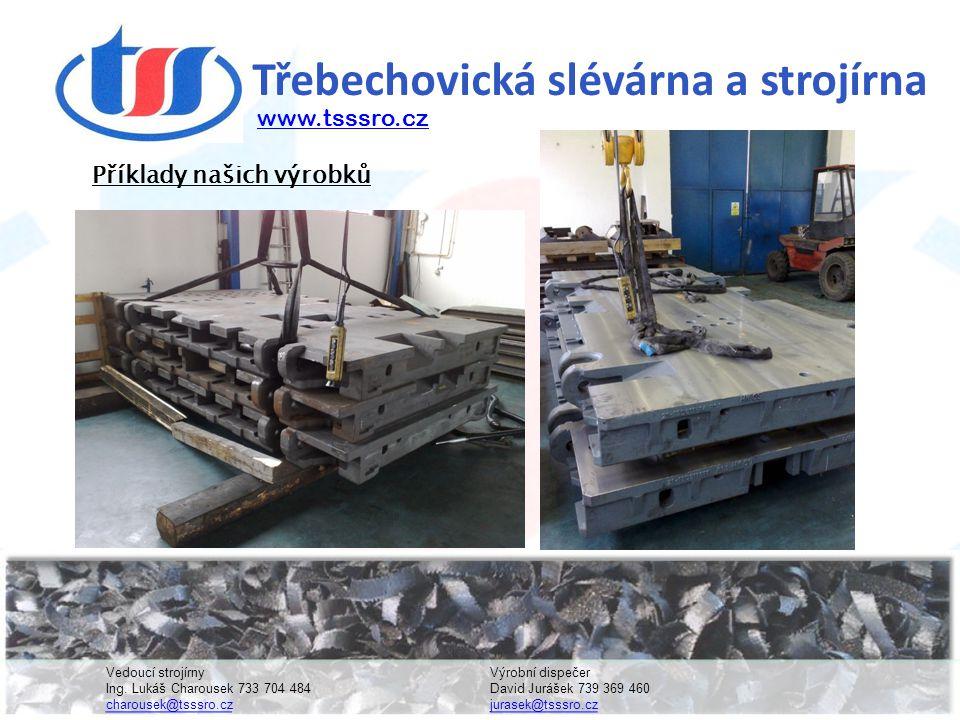 Třebechovická slévárna a strojírna www.tsssro.cz Příklady našich výrobků Vedoucí strojírnyVýrobní dispečer Ing.